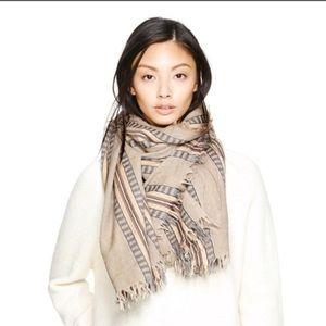 Aritzia Wilfred Wool Blanket Mixed Stripes Scarf